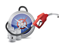 Compass guide with a gas pump nozzle Royalty Free Stock Image