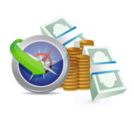 Compass guide to profitability concept. Illustration design over a white background Stock Images