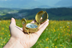 Compass in the hand Stock Photo