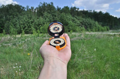 Compass in hand, against background of the forest. Stock Image