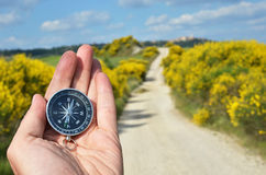 Compass in the hand Royalty Free Stock Photo