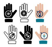 compass in hand flat icons, vector  Royalty Free Stock Photography
