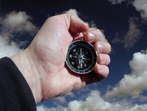 Compass in hand isolated