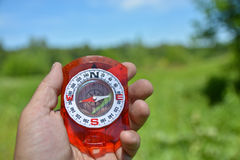 Compass in hand. Royalty Free Stock Photo