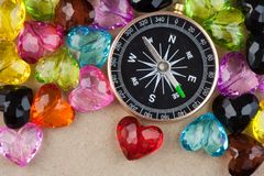 Compass and hearts Stock Photos