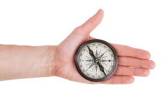 Compass in his outstretched hand man Royalty Free Stock Images