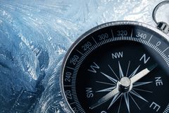Compass on ice Stock Image