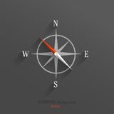 Compass icon. Abstract vector compass icon with shadow over dark background Royalty Free Stock Image