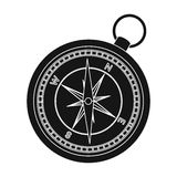 Compass icon in black style isolated on white background. Rest and travel symbol stock vector illustration. Royalty Free Stock Photography