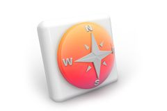 Compass icon. 3d render of  Compass icon on isolated background Royalty Free Stock Photos