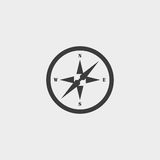 Compass icon in a flat design in black color. Vector illustration eps10 Royalty Free Stock Image