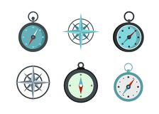 Compass icon set, flat style. Compass icon set. Flat set of compass vector icons for web design isolated on white background Royalty Free Stock Images