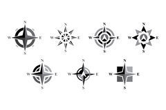 Compass Icon Set. Modern, simple and elegant design of a compass Royalty Free Stock Image