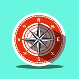 Compass Icon - Vector Illustration. Compass Icon. Vector Retro Flat Design Symbol Royalty Free Stock Photography