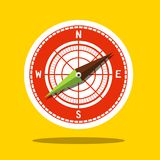 Compass Icon - Wind Rose Symbol. On Yellow Background Stock Photo