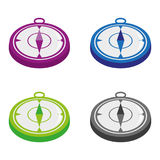 Compass. Icons in different colors Royalty Free Stock Photo