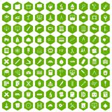 100 compass icons hexagon green. 100 compass icons set in green hexagon isolated vector illustration Royalty Free Stock Photos
