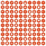 100 compass icons hexagon orange Stock Photo