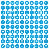 100 compass icons set blue. 100 compass icons set in blue hexagon isolated vector illustration Royalty Free Illustration