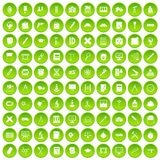 100 compass icons set green circle. Isolated on white background vector illustration Royalty Free Stock Photo