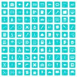 100 compass icons set grunge blue. 100 compass icons set in grunge style blue color isolated on white background vector illustration Stock Photography