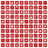 100 compass icons set grunge red Royalty Free Stock Photography