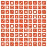 100 compass icons set grunge orange. 100 compass icons set in grunge style orange color isolated on white background vector illustration Royalty Free Stock Photo