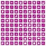 100 compass icons set grunge pink. 100 compass icons set in grunge style pink color isolated on white background vector illustration Royalty Free Stock Photos