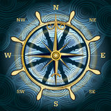 The compass. Illustration with golden compass with wind rose and hand wheel behind against wavy textured background stock illustration