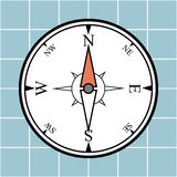 Compass. Illustration of simple compass on blue grid background Royalty Free Stock Images