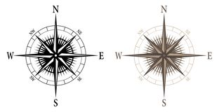 Compass, isolated vector illustration in both black and color versions. Nice looking compass with sharp detail in both black outline and color versions, isolated vector illustration