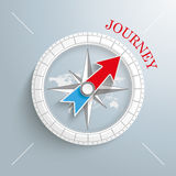 Compass Journey. White compass with red text Journey on the gray background Royalty Free Stock Images
