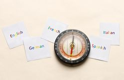 Compass and languages Stock Photography