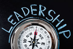 Compass With Leadership Text. Close-up Of Compass With Leadership Text On Blackboard Stock Photo