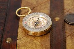 Compass on leather case Royalty Free Stock Image