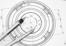 Compass lie on the drawing. 3d render Stock Photo