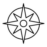 Compass linear icon. Pocket compass thin line illustration. Navigation and orientation instrument. Contour symbol Stock Images