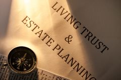Compass on Living Trust and Estate Planning royalty free stock photography