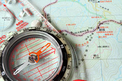 Compass on a local map Royalty Free Stock Photo