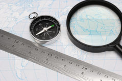 Compass loupe and card Royalty Free Stock Photos