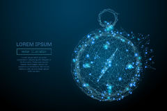 Compass low poly blue. Abstract image of a compass in the form of a starry sky or space, consisting of points, lines, and shapes in the form of planets, stars stock illustration