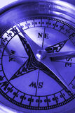 Compass macro in blue Stock Image