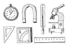 Compass and magnet, alpelmet with thermometer and microscope. engraved hand drawn in old sketch and vintage symbols Royalty Free Stock Photo