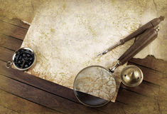 Compass and magnifier Royalty Free Stock Photo