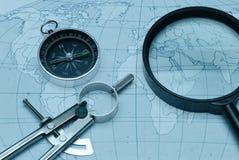compass magnifier map Στοκ Φωτογραφίες