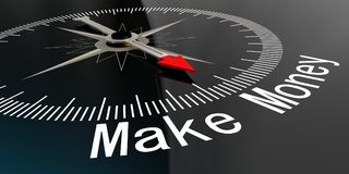 Compass with make money word. 3D rendering Royalty Free Stock Photo