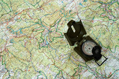 Compass on the map 1. Navigation to the North Stock Image