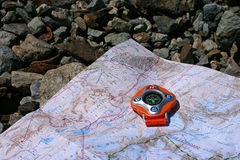 Compass on a Map - 1 Royalty Free Stock Images