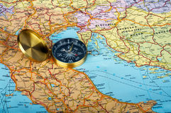 Compass and Map. Copper compass on map of Europe Royalty Free Stock Image