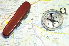 Compass and map. Travel tools Royalty Free Stock Image